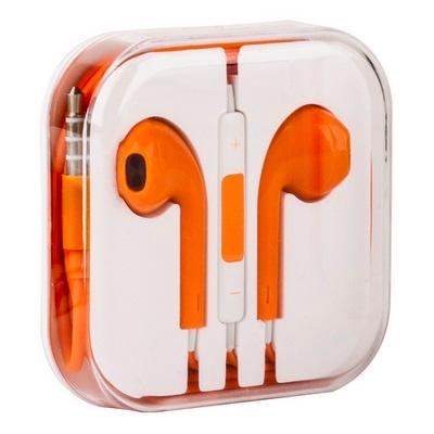 Проводная стерео-гарнитура для Apple iPhone 5/5C/5S/6/6S (вкладыши с микрофоном и пультом) оранжевые