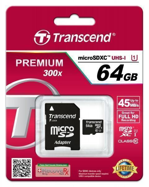Карта памяти Transcend microSDXC Class10 UHS-I 60MB/s 64GB (TS64GUSDU1)microSD<br>Карта памяти Transcend microSDXC Class10 UHS-I 60MB/s 64GB (TS64GUSDU1)<br>