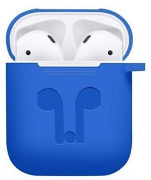 Купить со скидкой Чехол Protection для AirPods с карабином для наушников силикон Синий