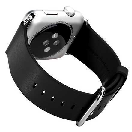 Купить со скидкой Ремешок кожаный Rock Genuine Leather Watchband для Apple Watch Series 1/2 38mm Black