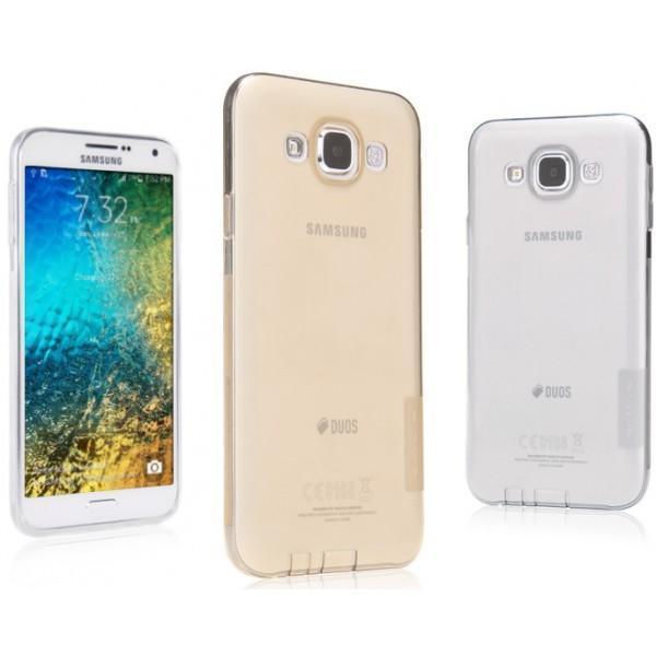 Чехол-накладка Nillkin Nature 0.6mm для Samsung Galaxy E7 (SM-E700) силиконовый прозрачно-черный