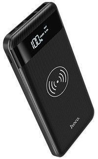 Универсальный внешний аккумулятор и беспроводное зарядное устройство Hoco (J11) 10000mAh (2USB.5V-2.1A/5V-1A) черный