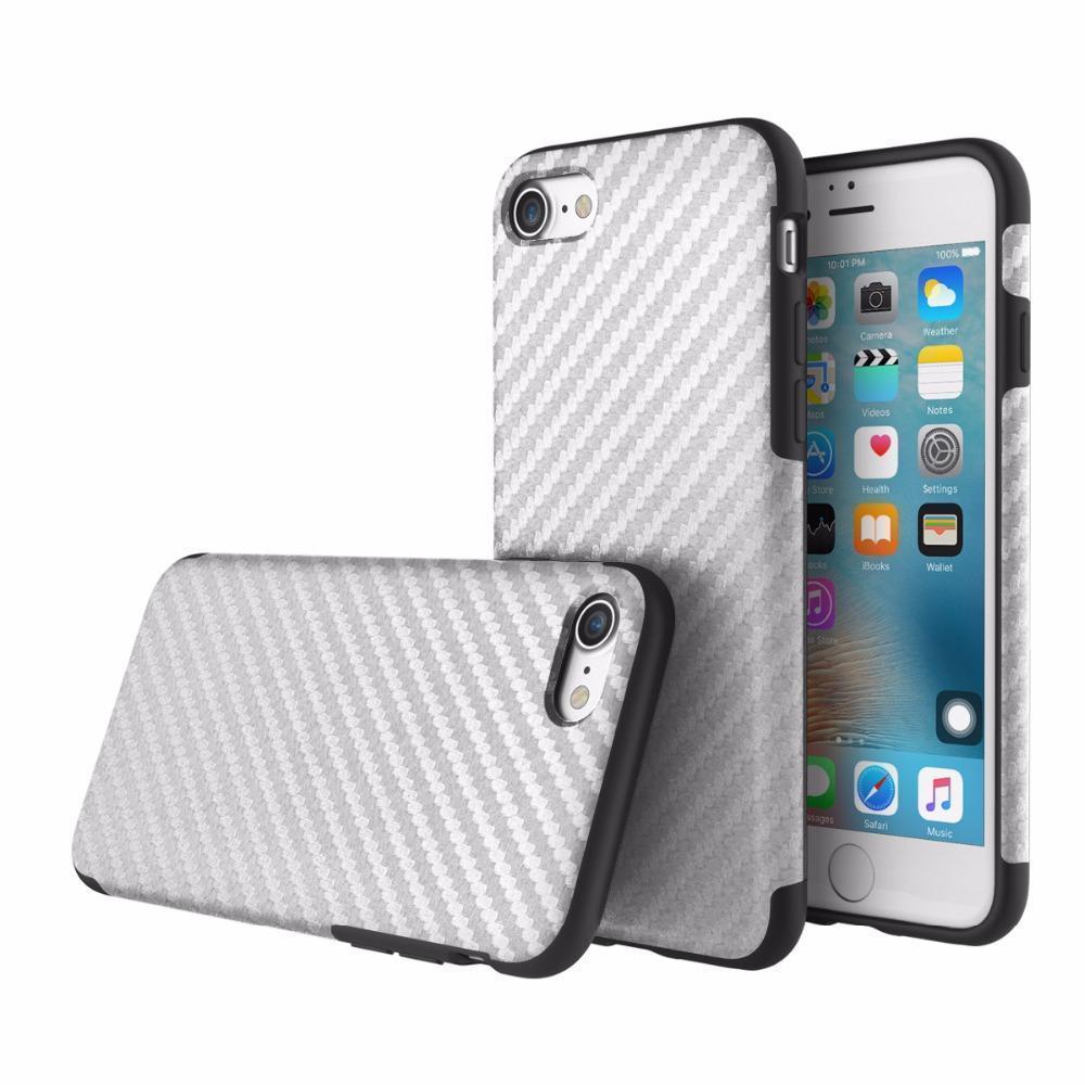 Чехол-накладка Rock Origin Series Textured для Apple iPhone 7/8 карбон/силикон Silverдля iPhone 7/8<br>Чехол-накладка Rock Origin Series Textured для Apple iPhone 7/8 карбон/силикон Silver<br>