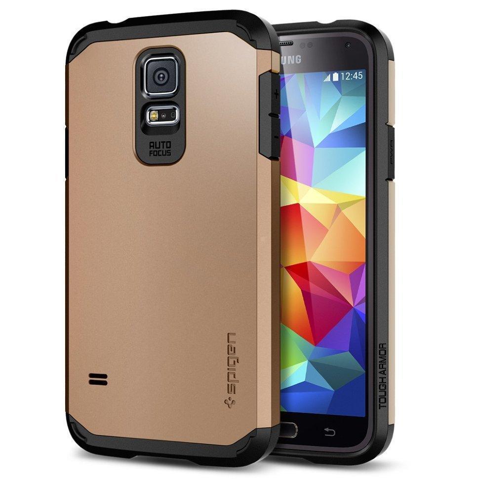 Чехол-накладка Spigen Tough Armor SGP10764 для Samsung Galaxy S5 резина, пластик (золотой)для Samsung<br>Чехол-накладка Spigen Tough Armor SGP10764 для Samsung Galaxy S5 резина, пластик (золотой)<br>