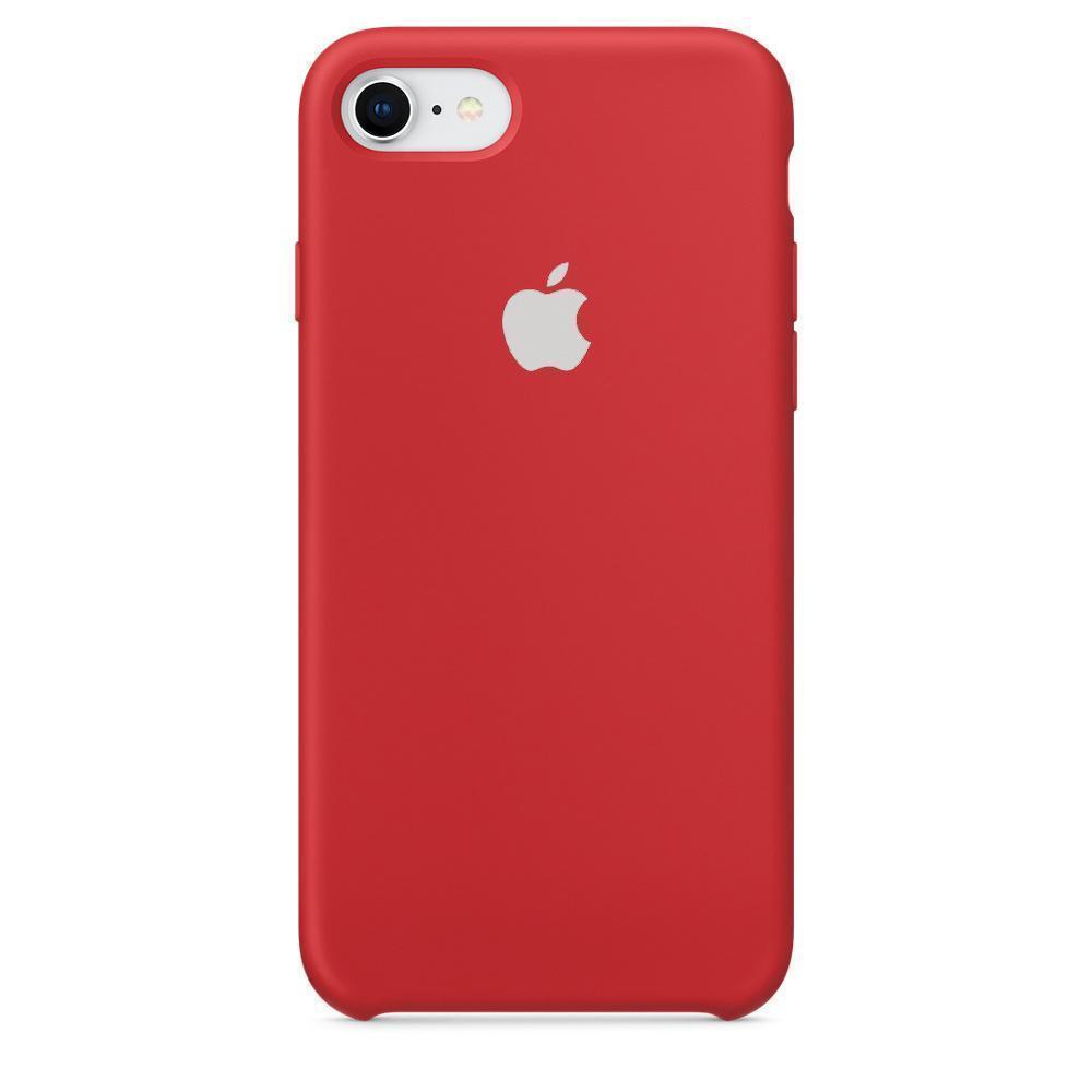 Чехол-накладка Silicone Case для iPhone 7/8 силиконовый (красный с белым)