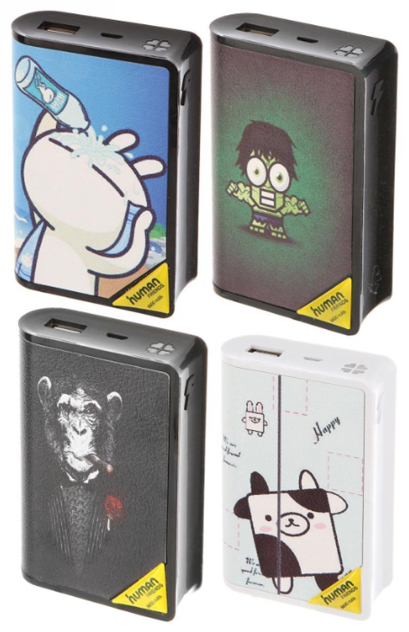 Универсальный внешний аккумулятор Human Friends Manga 6600 mAh (USB х1/2000mAh) пластик BlackУниверсальные внешние аккумуляторы<br>Универсальный внешний аккумулятор Human Friends Manga 6600 mAh (USB х1/2000mAh) пластик Black<br>