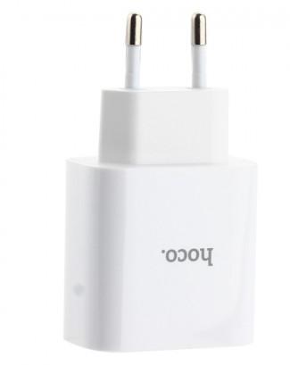 Купить Зарядное устройство Hoco C57A Speed Charger PD+QC 3.0 + USB (Type-C to Lighting) 5V-3.1A белый