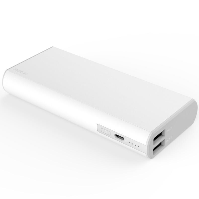 Универсальный внешний аккумулятор Rock Cola Power Bank 10000 mAh 1.2 А/ 2.4 А, USBx2 пласти whiteУниверсальные внешние аккумуляторы<br>Универсальный внешний аккумулятор Rock Cola Power Bank 10000 mAh 1.2 А/ 2.4 А, USBx2 пласти white<br>
