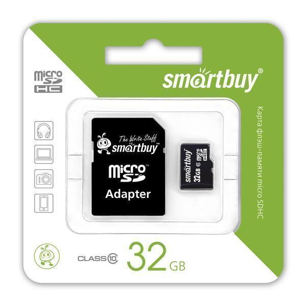 Карта памяти SmartBuy microSDXC Class 10 10MB/s 32GB + SD adapter (SB32GBSDCL10-01)